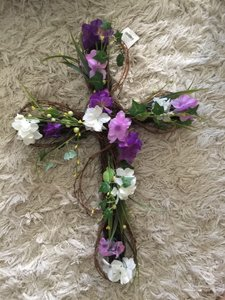 Silk Floral Wedding Cross