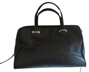 Coach Leather Silver Handle Satchel in Black