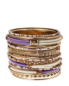 Amrita Singh AMRITA SINGH Monaco Purple/Ivory Bangle Bracelet Set