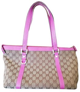 Gucci Tote Canvas Pink Abbey Shoulder Bag