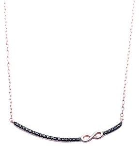9.2.5 unique infinty black sapphire rose gold dipped bar necklace