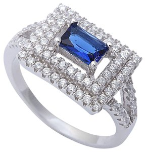9.2.5 unique blue and white square sapphire party ring size 7