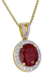 Other Solitaire Ruby Cz Pendant 18k Yellow Gold Plated Necklace Round Unique