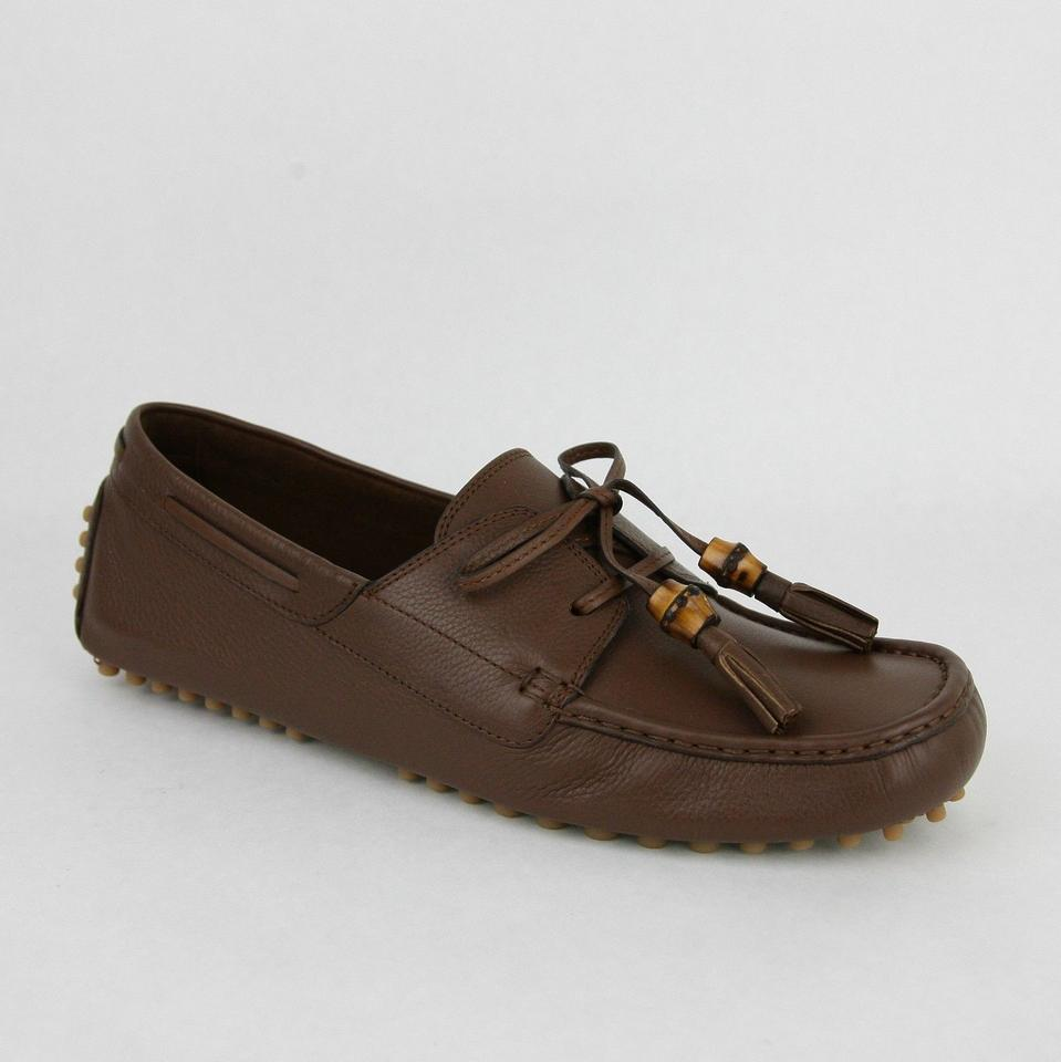 91e3be727f8 Gucci Brown Men s Leather Bamboo Tassel Loafer Driver G 12 G Us 12.5 367923  2138 Shoes