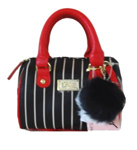 Betsey Johnson Stripe Mini Barrel Cross Body Bag
