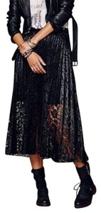 Free People Floral Lace Metallic Skirt Black