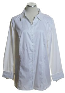 Lane Bryant Woven Long Sleeve Button Down Shirt White