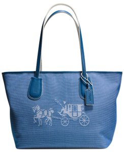 Coach Canvass Leather Horse And Carriage Taxi Tote in DENIM / CHALK