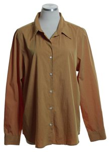 Gap Woven Long Sleeve Button Down Shirt Burnt Orange