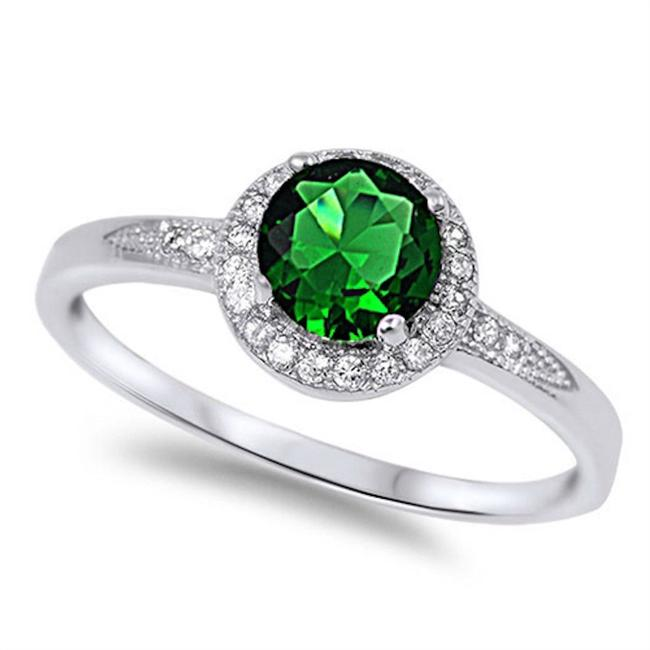 Item - Green Emerald Halo Size 7 Ring