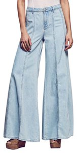 Free People Bells Bohemian Bell Flare Pants Blue