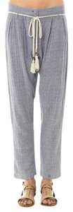 Mes Demoiselles Bohemian Relaxed Pinstripe Effortless Gauzy Trouser Pants Blue