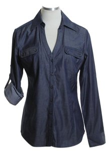 Express Woven Long Sleeve Denim Button Down Shirt Blue