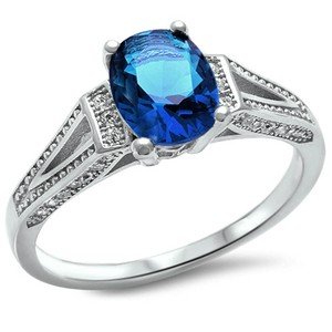 9.2.5 antique style blue sapphire ring size7