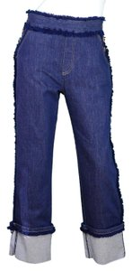 See by Chloé Denim Croped Cuffed Fringe Capri/Cropped Denim-Medium Wash