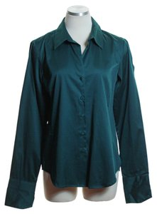 Talbots Woven Long Sleeve Button Down Shirt Teal Green