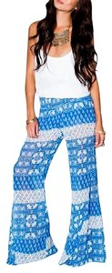 Show Me Your Mumu Robert's Party Bell Teacup Tulips Printed Stretchy Flare Pants Blue