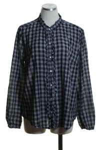 J.Crew Woven Printed Long Sleeve Button Down Shirt Black