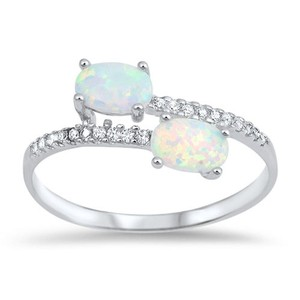 9.2.5 pretty double opal and white sapphire wrap ring size7