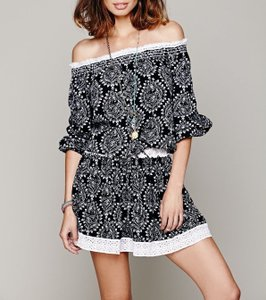 Free People short dress Black, White Multi Off The Shoulder Elastic on Tradesy