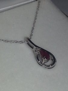 Riddle's Ruby & Diamond Necklace, 10k White Gold, New in Box