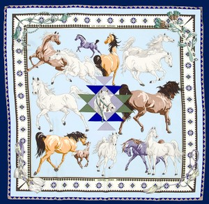 Hermès Hermes Equestrian Scarf Les Chevaux Qataris New in Box with Tags