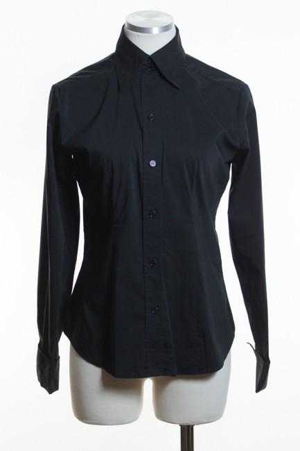 New York & Company Black Stretch Cotton Blend Blouse Button Down Shirt 80%OFF