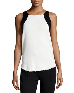 Townsen Sleeveless Leather-trimmed Thermal Top Off-White