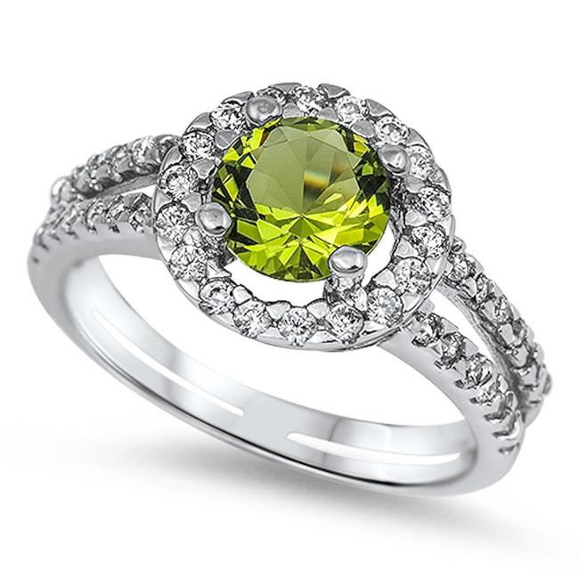 Item - Lime Pretty Green Peridot and White Topaz Cocktail Size 7 Ring