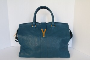 Saint Laurent Chyc Ysl Tote in Teal/Blue