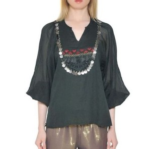 Mes Demoiselles Bohemian Gauze French Embellished Embroidered Top Black Multi