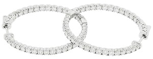 Diamond,3.25ct,Hoops,14k,White,Gold,Ladies,Earrings