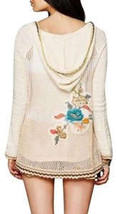 Free People Embroidered Hooded Fp Cream Eyelet Tunic Chic Bohemian Sweater