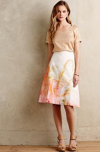 Anthropologie Abstract Skirt Cream, Orange, Yellow, Pink