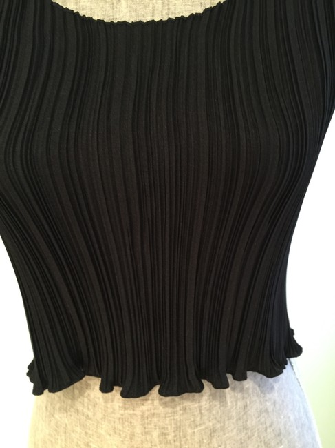 Express Size Small Date Night Casual Night Out Sleeveless Summer Scoop Neck Pleated Top Black