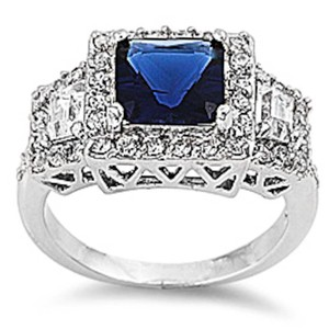 9.2.5 stunning bold blue and white sapphire cocktail ring size 8