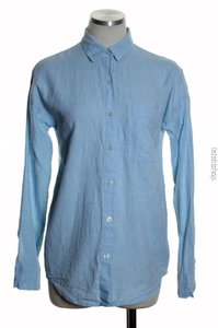 Old Navy Woven Long Sleeve Button Down Shirt Blue