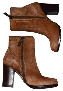 Frye Distressed Ankle Ankle Heeled Side Zip Brown Boots