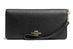 Coach Slim Black Leather Wallet Wristlet