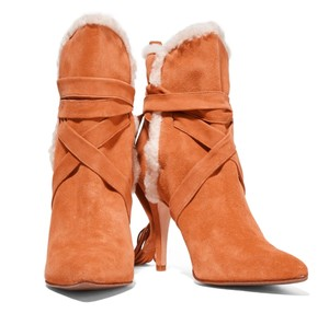 SCHUTZ Suede Shearling Boot Bootie Tan Boots