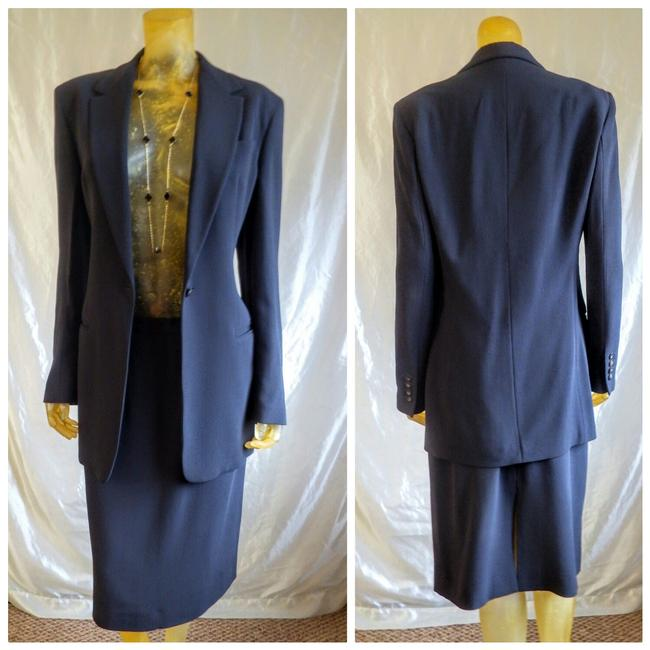 Item - Slate Gray Ribbed Wool Crepe Skirt Suit Size 12 (L)