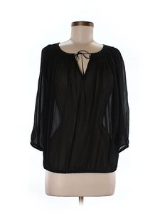 KAS New York Silk Longsleeve Keyhole Top Black