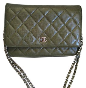 Chanel Woc Wallet On A Chain Caviar Leather Green Cross Body Bag