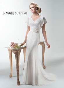 Maggie Sottero Ivory/Blush Chiffon Payton Retro Wedding Dress Size ...