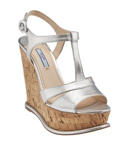 Prada Silver Leather Wedges