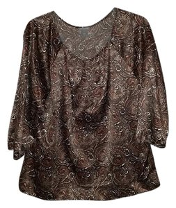Ann Taylor Top Brown Pasiley Print