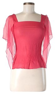 Paul & Joe Silk Square Neck Chiffon Top Pink