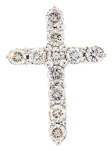 1.10,Ct,Diamond,14k,14,K,White,Gold,Womens,Ladies,Cross,Pendant