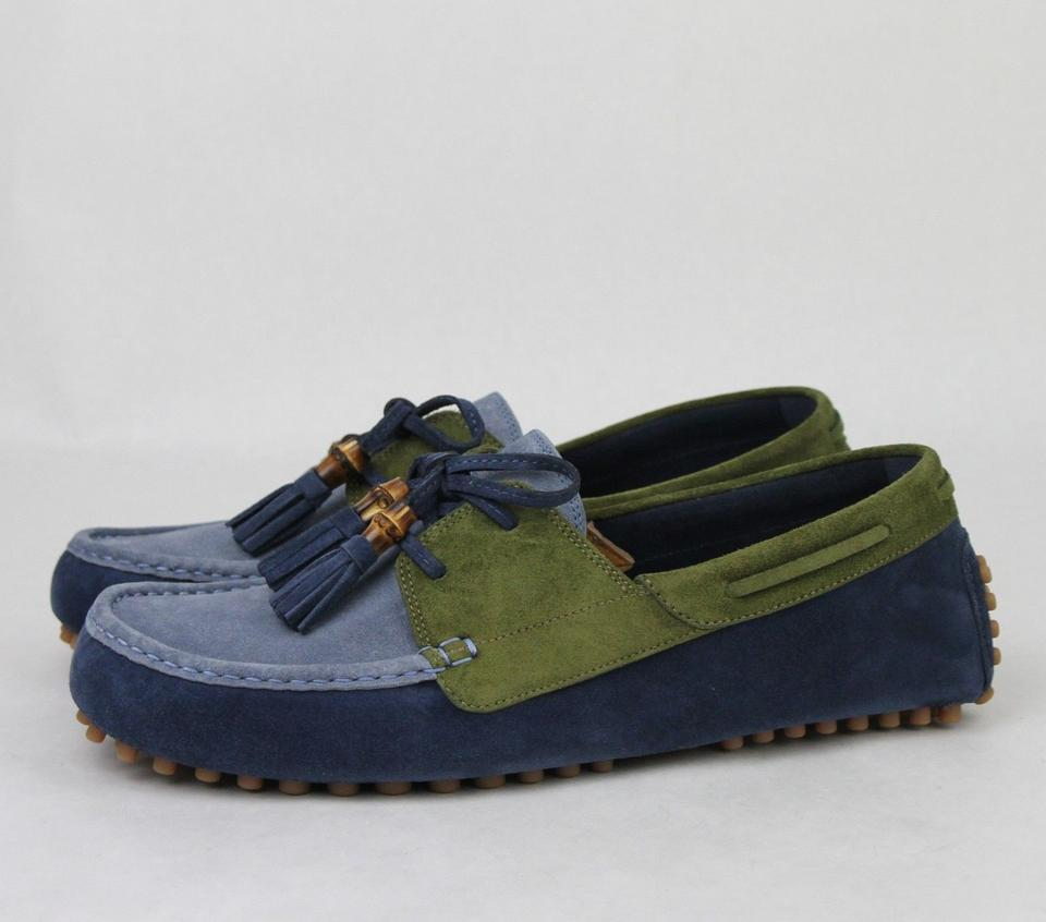 e7c312aea Gucci Blue/Green Men's Suede Bamboo Tassel Loafer Driver 8.5 G/ Us 9 367923  4162 Shoes