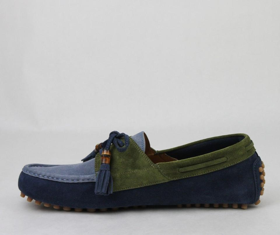 d7cba9810 Gucci Blue/Green Men's Suede Bamboo Tassel Loafer Driver 8.5 G/ Us 9 367923.  1234567. 1 ∕ 7